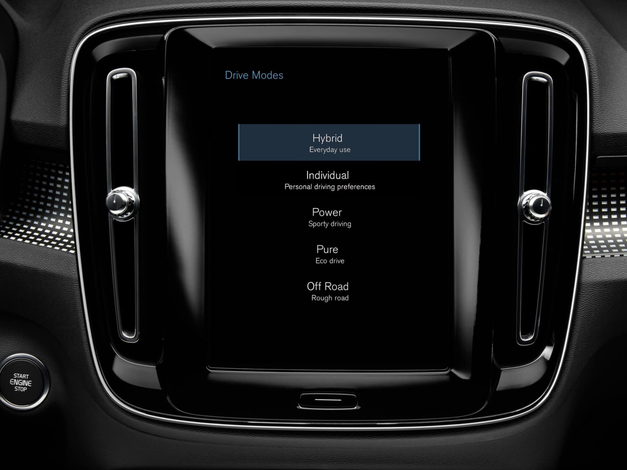 Volvo XC40 Plug-in Hybride rijmodi